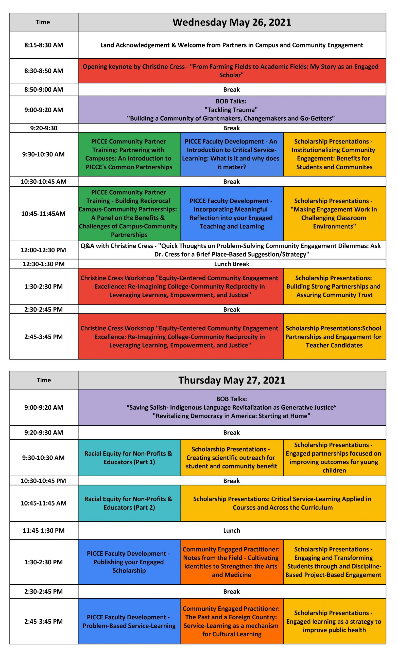 Draft of CEI 2021 Program at a Glance.xlsx - Actual Schedule at a Glance (3)